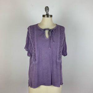 Anthropologie Floreat Purple Crochet Blouse